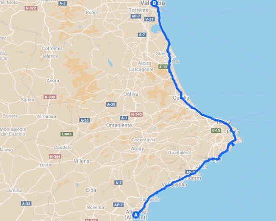 Alicante a Valencia en bicicleta